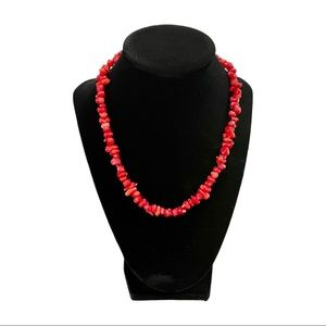 Red & Pink Coral Chips Single Strand Necklace